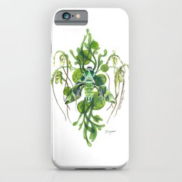 Evergreen Hawk Moth, Seaweed, Algae, and Orchids iPhone Case