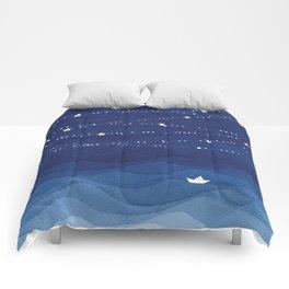 night sky, ocean painting Comforters