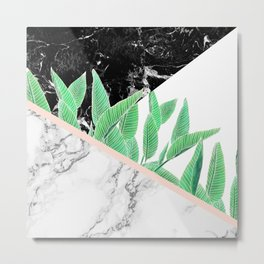 Modern tropical palm tree black white marble color block pastel blush pink Metal Print