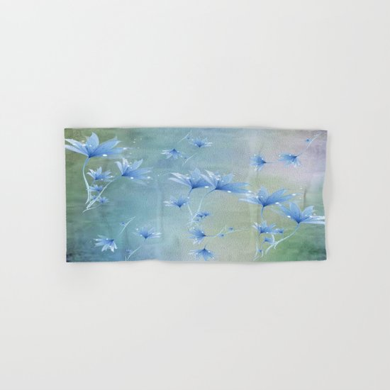 Fantasy Floating Blue Flowers Abstract Hand & Bath Towel