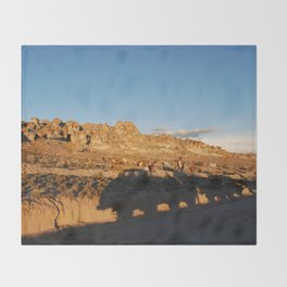 Sunset with shades and lamas Throw Blanket