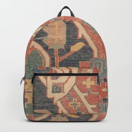 Geometric Leaves IV // 18th Century Distressed Red Blue Green Colorful Ornate Accent Rug Pattern Backpack