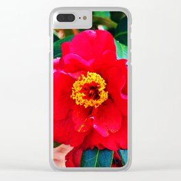 Rich Red Camellia Clear iPhone Case