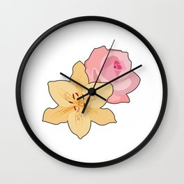Pink Rose & Day Lily Wall Clock