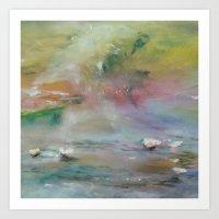 Monet´s Theme ... Waterlilies at Colors II Art Print