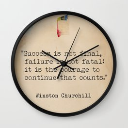 Churchill quote poster. Success is not final. Wall Clock