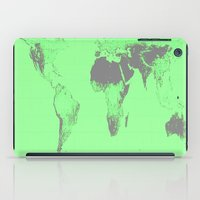 map of the world iPad Cases featuring World Map : Gall Peters Seafoam Green by 2sweet4words Designs