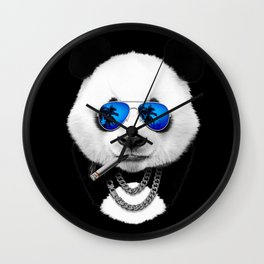 Blue Summer Panda Wall Clock