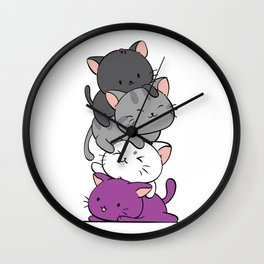 Asexual Pride Cats Anime - Ace Pride Cute Kitten Stack Wall Clock