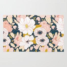 Night Floral Peony Garden Pattern Rug