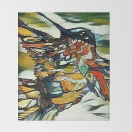 Dramatic Hummingbird in Flight, Colors of Autumn Throw Blanket