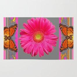 Pink Gerbera Flowers Orange Butterflies Grey Patterns Rug