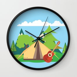 camping , outdoors , nursery decor , children gift, birthday gift Wall Clock