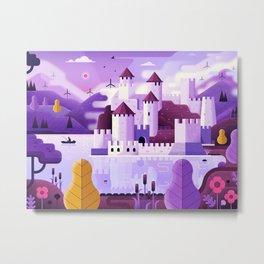 Medieval Golubac Fortress on Mountain Lake Metal Print