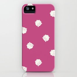Round Bunny Pattern White Pink iPhone Case