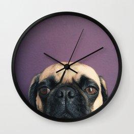 Lurking Pug Wall Clock