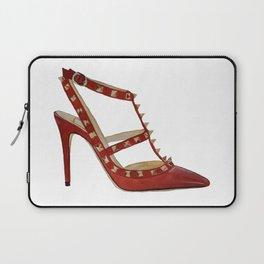 Valentino Rockstud pumps fashion illustration red gold Laptop Sleeve
