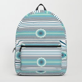 Concentric Circles and Stripes in Teals Backpack