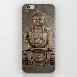 Sitting Buddha On Distressed Metal Background iPhone Skin
