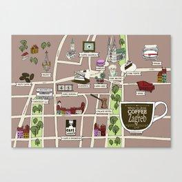 Zagreb Coffee Map Canvas Print