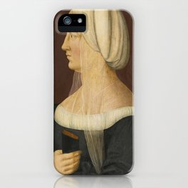 Matthias Gerung PORTRAIT OF A LADY, HALF-LENGTH, HEAD IN PROFILE, WEARING BLACK WITH A WHITE HEADDRE iPhone Case