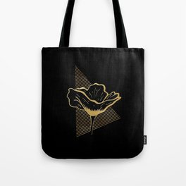 Black and Gold Poppy Flower over line triangle Tote Bag