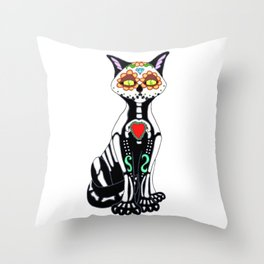 Sugar Skull Kitty Cat Throw Pillow