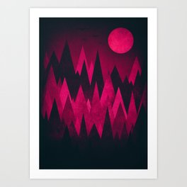 Dark Triangles (Peak Woods) Abstract Grunge Mountains Design (red/black) Art Print