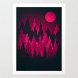 Dark Triangles (Peak Woods) Abstract Grunge Mountains Design (red/black) Art Print