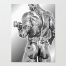 Male Chrome Bodybuilder (Black and White) Canvas Print