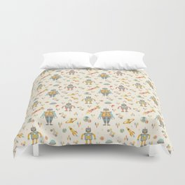 Vintage Inspired Robots in Space Duvet Cover