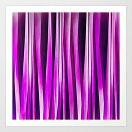 Plum Purple and and Burgundy Stripy Lines Pattern Art Print