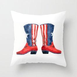 patriotic boots Throw Pillow