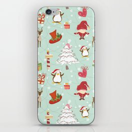 Christmas Elements Reindeer Design Pattern iPhone Skin