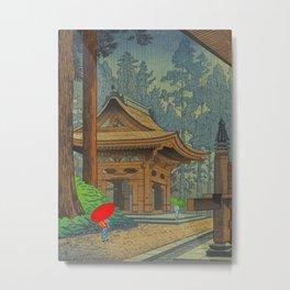 Asano Takeji Japanese Woodblock Print Vintage Mid Century Art Shinto Shrine Forest Metal Print