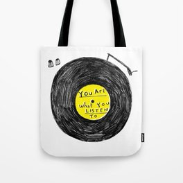 you are what you listen to, YELLOW Tote Bag