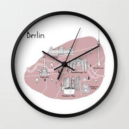 Mapping Berlin - Pink Wall Clock