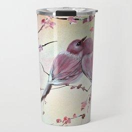 Love Birds Blossom Floral Travel Mug