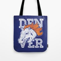 denver Tote Bags featuring Denver by d.bjorn