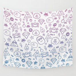 Cute & Sweet Monsters / Funny Clouds and Diamonds Wall Tapestry