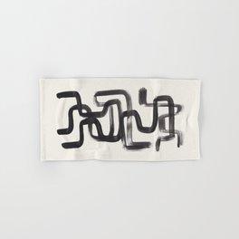 Mid Century Modern Minimalist Abstract Art Brush Strokes Black & White Ink Art Pipe Maze Hand & Bath Towel