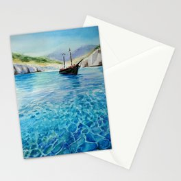 Shinning Ocean - Watercolor Landscape Art Stationery Cards
