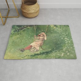 Girl On A Swing 1897 By WinslowHomer | Reproduction Rug