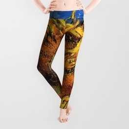 Two Cut Sunflowers - Auvers-sur-Oise - Two sunflowers gone to seed by Vincent van Gogh Leggings