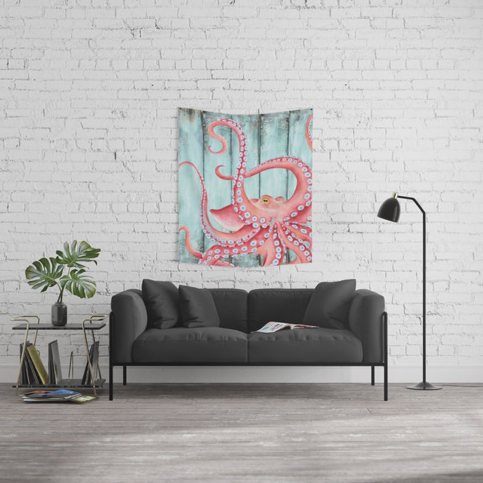Red Octopus Teal Green Shabby Nautical Wall Tapestry