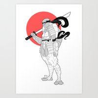 ninja turtle Art Prints featuring A Female Ninja Turtle by Rach-Draws