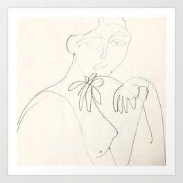 Una Flor: sketch Art Print