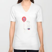 bruno mars V-neck T-shirts featuring Bruno Mars (Gorilla Balloon) by Rene Alberto