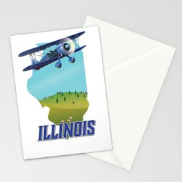 Illinois map travel poster. Stationery Cards