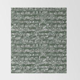 Hand Written Sheet Music // Timber Green Throw Blanket